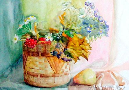 Курсы живописи натюрморт с корзинкой